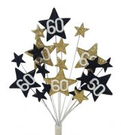 Star age 60th birthday cake topper decoration in black and gold - free postage